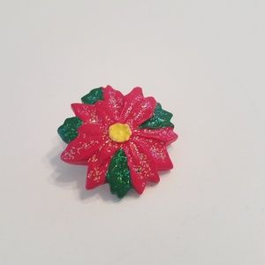 Jewelry - Poinsettia Pin Red Glitter Christmas Holiday